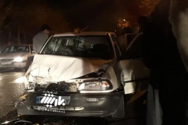 تصادف پراید و سایپا خیابان ابوذر