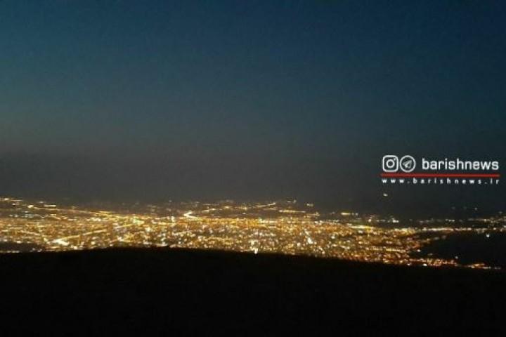 ارومیه در یک شب زیبا از نمای کوه سیر