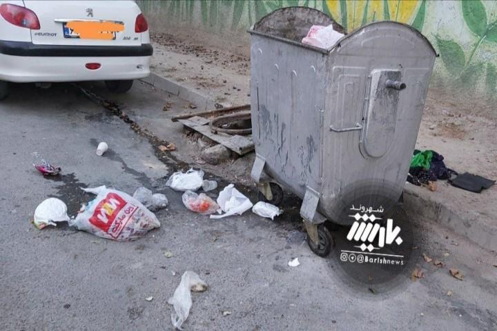 وصعیت سطل زباله در خیابان شیخ تپه