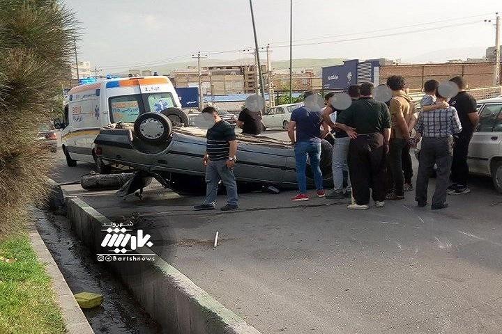 واژگونی خودرو در کمربندی خاتم الانبیا