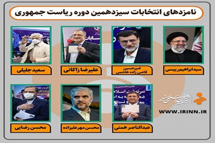 اسامی نامزدهای سیزدهمین دوره انتخابات ریاست جمهوری
