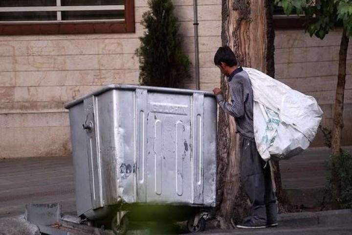 جست و جوی نان شب در سطل زباله های شهری