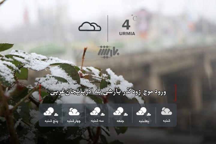 ورود موج زودگذر بارشی به آذربایجانغربی