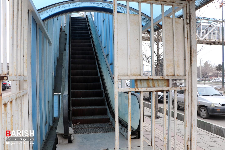 وضعیت نابسامان تنها پل عابر پیاده برقی ارومیه در ولفجر